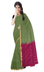 De Marca Green Colour Blended Cotton Saree (product Code - Ts13503)