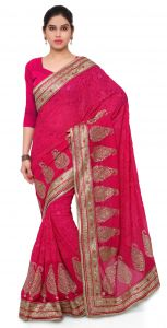 De Marca Pink Colour Faux Georgette Saree (product Code - Tsamk3098c)