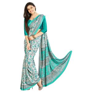 De Marca Green Crepe-silk Saree (product Code - Tsams704b)