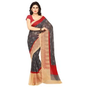 De Marca Grey Art Silk Saree (product Code - Tsand053a)