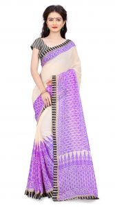 De Marca Beige-purple Colour Art Silk Saree (product Code - Tsand061d)