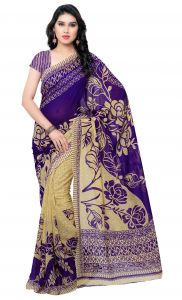 De Marca Blue-beige Colour Faux Georgette Saree (product Code - Tsand1086f)