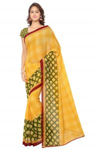 De Marca Yellow Colour Faux Georgette Saree (product Code - Tsand1115a)