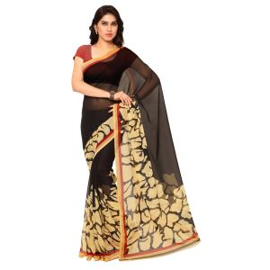 De Marca Black Faux Georgette Saree (product Code - Tsand1141a)