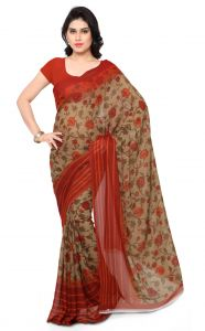 De Marca Brown-red Colour Faux Georgette Saree (product Code - Tsand1154b)