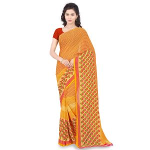 De Marca Yellow Faux Georgette Saree (product Code - Tsand1182a)