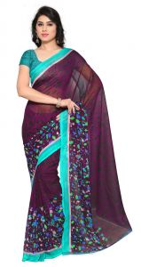 De Marca Violet Colour Faux Georgette Saree (product Code - Tsand1197c)