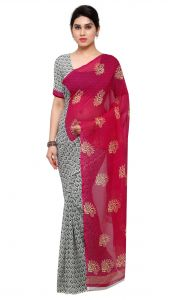 De Marca Pink-grey Colour Faux Georgette Saree (product Code - Tsand1198a)