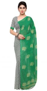 De Marca Green-grey Colour Faux Georgette Saree (product Code - Tsand1198c)