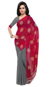 De Marca Grey-red Colour Faux Georgette Saree (product Code - Tsand1199a)