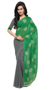 De Marca Green-black-white Colour Faux Georgette Saree (product Code - Tsand1199c)