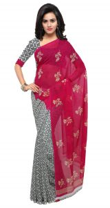 De Marca Red-grey Colour Faux Georgette Saree (product Code - Tsand1200a)