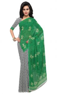 De Marca Green-grey Colour Faux Georgette Saree (product Code - Tsand1200c)