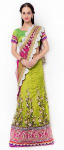 De Marca Green Colour Dupion-net-satinlehenga Saree (product Code - Tsbd606)