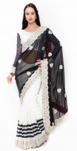 De Marca White-black Colour Faux Georgette Half N Half Saree (product Code - Tshtxvi27002)