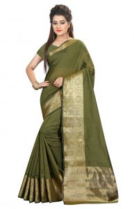 De Marca Green Colour Cotton Blend Saree (product Code - Tsklgy32007)