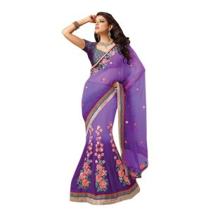 De Marca Purple Net Saree - ( Code - Tsmh2604 )