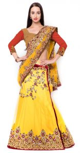 De Marca Yellow Colour Net-silklehenga Saree (product Code - Tsmh6220)