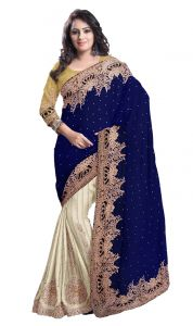 De Marca Blue-beige Colour Net Half N Half Saree (product Code - Tsmn2719)