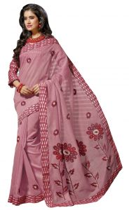 De Marca Pink Colour Cotton Blend Saree (product Code - Tsmrcc143)