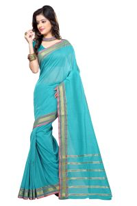 De Marca Sky Blue Colour Cotton Blend Saree (product Code - Tsmrcc2106)