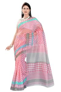 De Marca Pink Colour Cotton Blend Saree (product Code - Tsmrccak1048)