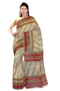 De Marca Beige-grey-red Colour Cotton Blend Saree (product Code - Tsmrccak1060)