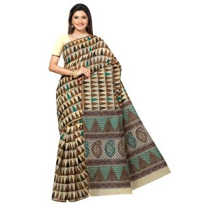 De Marca Brown Cotton Saree (product Code - Tsmrccan1019)