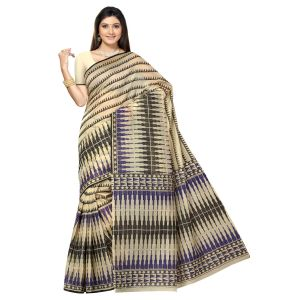 De Marca Beige Cotton Saree (product Code - Tsmrccan1023)