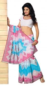 De Marca Blue-pink Colour Cotton Blend Saree (product Code - Tsmrccrd392)