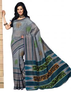 De Marca Grey Colour Cotton Blend Saree (product Code - Tsmrccrd395)