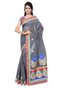 De Marca Grey Colour Cotton Blend Saree (product Code - Tsmrccru227)
