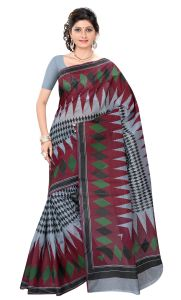 De Marca Grey-maroon Colour Cotton Blend Saree (product Code - Tsmrcczi1084)