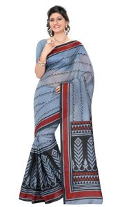 De Marca Grey Colour Cotton Blend Saree (product Code - Tsmrcczi1097)