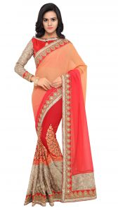 De Marca Red-orange Colour Chiffon Half N Half Saree (product Code - Tsn1027)