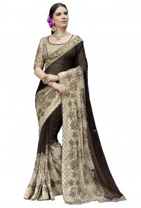 De Marca Black-beige Colour Chiffon Saree (product Code - Tsn1028)