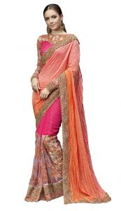 Chiffon Sarees - De Marca Pink-Orange Colour Chiffon Saree (Product Code - TSN1030)