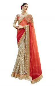 Women's Clothing - De Marca Beige-Orange-Red Colour Chiffon Half n Half Saree (Product Code - TSN1040)