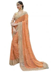 Sarees (Misc) - De Marca Orange Colour Shimmer Saree (Product Code - TSN1044)