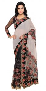 De Marca Black-white Colour Faux Georgette Saree (product Code - Tsn1046)