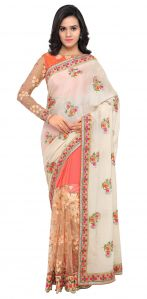De Marca Peach-cream Colour Chiffon Half N Half Saree (product Code - Tsn1048)