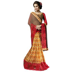 De Marca Yellow Faux Georgette Saree (product Code - Tsn31110)