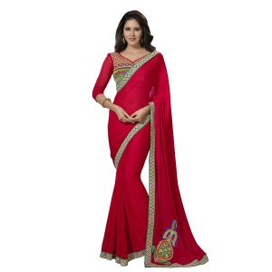 De Marca Red Chiffon Saree (product Code - Tsn40007)