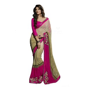 De Marca Pink Faux Georgette Saree (product Code - Tsn44001b)