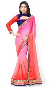 De Marca Orange-pink Colour Faux Georgette Saree (product Code - Tsn600016)