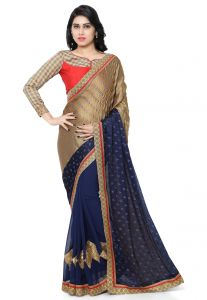 De Marca Blue-brown Colour Faux Georgette Saree (product Code - Tsn600021)