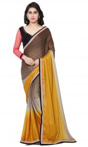 De Marca Yellow-brown-grey Colour Faux Georgette Saree (product Code - Tsn600030)