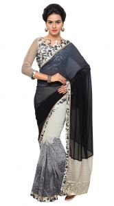 De Marca Grey-black Colour Faux Georgette Saree (product Code - Tsn640)