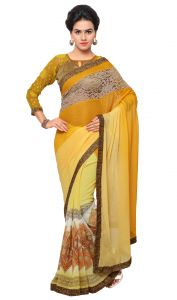 De Marca Yellow Colour Chiffon Saree (product Code - Tsn646)