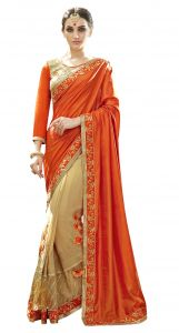 De Marca Beige-orange Colour Art Silk Half N Half Saree (product Code - Tsn87070)